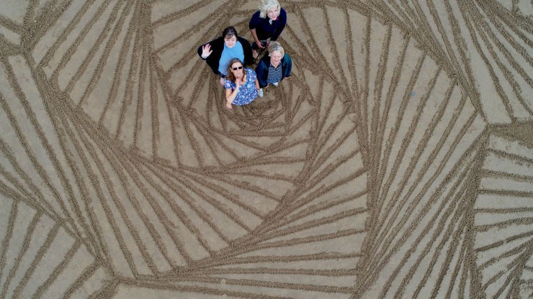 Zentangle Teachers on their Paradox tangle on Tenby beach